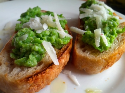 Crushed Fresh Peas on Toast
